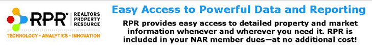 RPR, Realtors Property Resource. Technology, Analytics, Innovation. Easy access to powerful data and reporting. RPR provides easy access to detailed property and market information whenever and wherever you need it. RPR is included in your NAR member dues at no additional cost!
